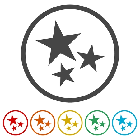 Three stars on white background with circles.