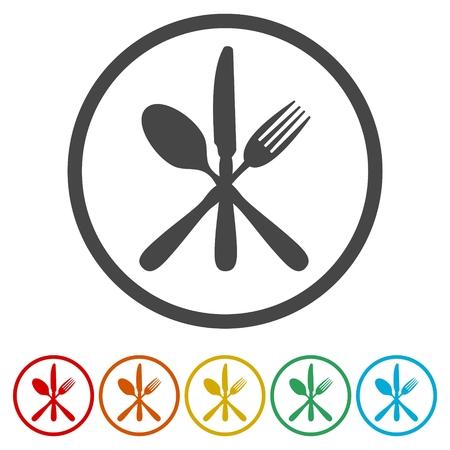 Fourchette à dessert, couteau, icône de signe de cuillère à café. Collection de couverts ensemble symbole