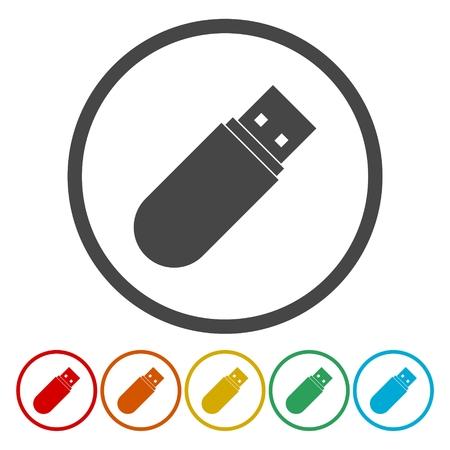 Usb icon. Usb flat symbol. Usb art illustration Illustration
