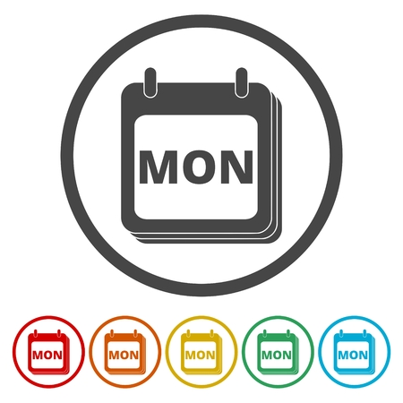 weekly: A wall calendar with the word Monday. Flat colorful buttons for Monday (calendar icon) Illustration
