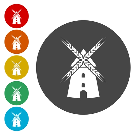 Windmill icon set Illustration