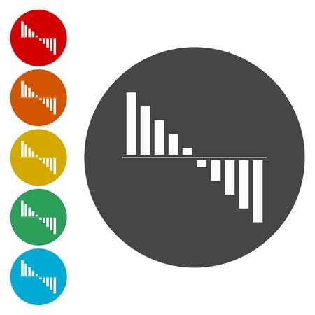 bellow: Negative cash flow concept icon set.