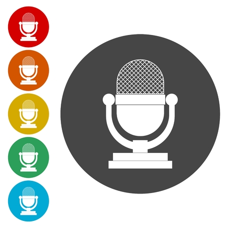 announcing: Microphone icon, isolated on white background