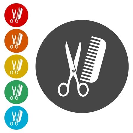 barber scissors: Comb hair with scissors sign icon. Barber symbol