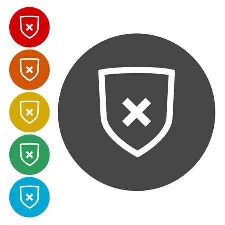 Shield with cancel symbol. Vector illustration Illustration