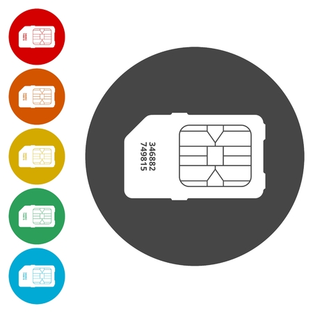 Sim card icon set Illustration