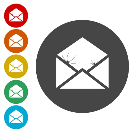 spammer: Icon and sign for spam and virus.