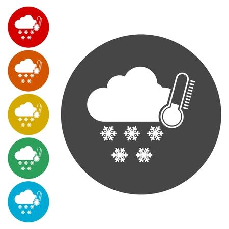 climatology: Weather symbols icon Illustration