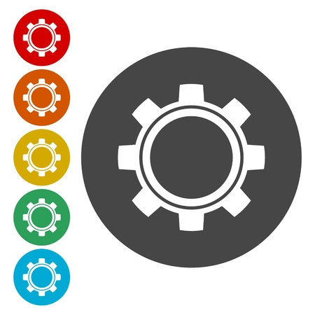 wheel spin: Gears icon, vector illustration. Flat design style