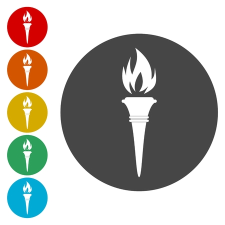 flaming: Torch flame icons. Fire flaming symbols