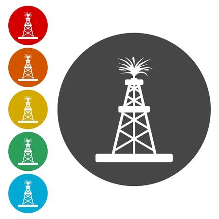 oil and gas industry: Oil platform flat vector illustration