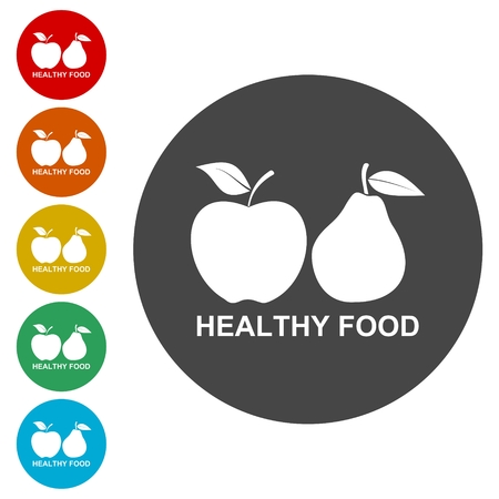 Fruits with leaf icons. Apple and Pear. Healthy food Illustration