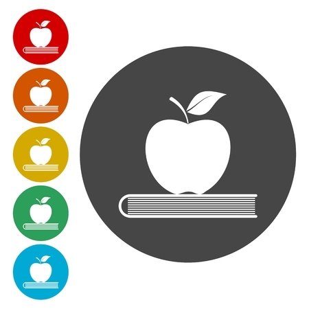 ripened: A Apple on a top of book, education icon