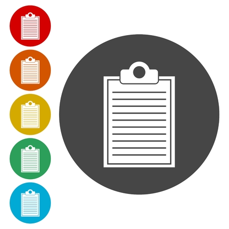 note pad: Flat Clipboard Checklist icon in circle on white