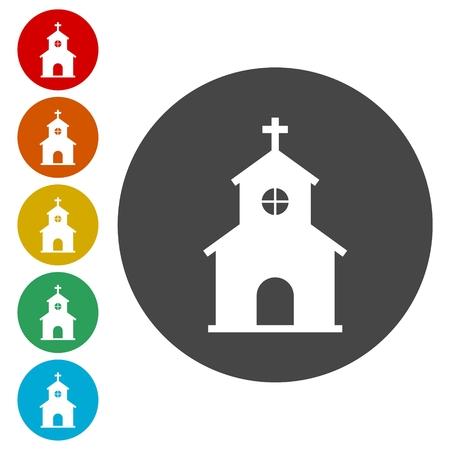 教会フラット アイコン。ベクトル丸ボタン。宗教的なシンボル