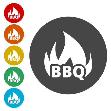 Flaming BBQ Party word design element
