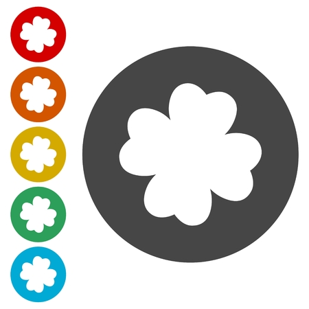 clover buttons: Clover with four leaves sign icon. Saint Patrick symbol