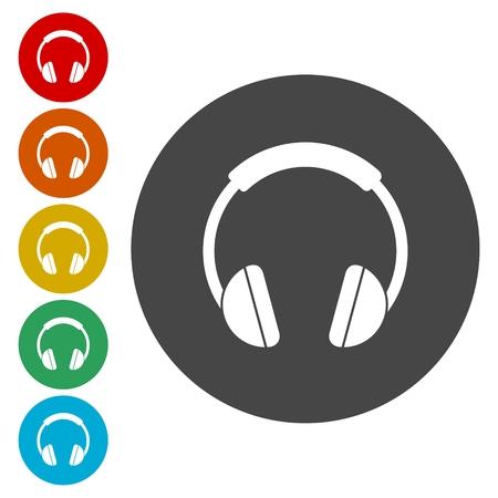 Headphones earphones with round circle Illustration