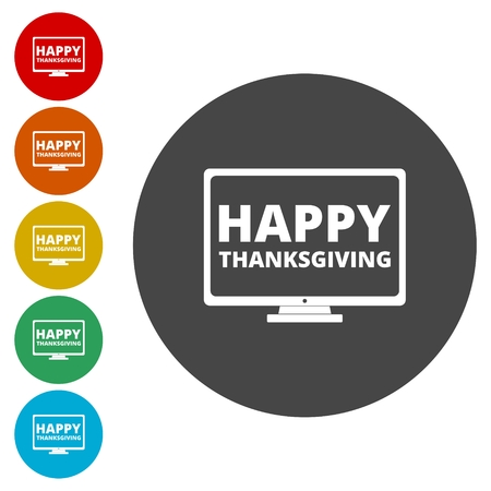 Happy thanksgiving day, monitor icon Illustration
