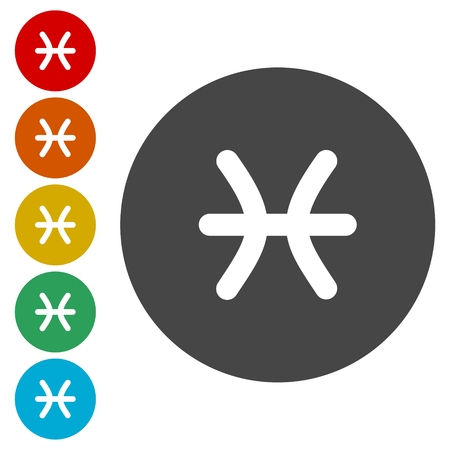 Zodiac signs. Set of simple round zodiac icons - for web and print Illustration