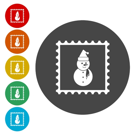 newyear: Vector christmas stamps