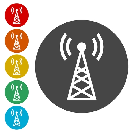 tv tower: Transmitter simple icons set
