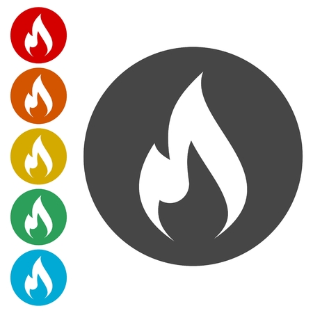 dangerous construction: Gas Flame Icon Illustration