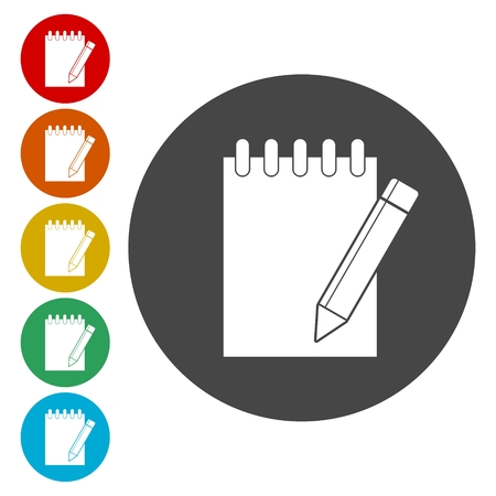 note paper: Notebook icon, Document With Pencil Icons set Illustration