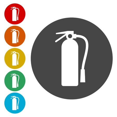 disaster: Fire extinguisher icons set
