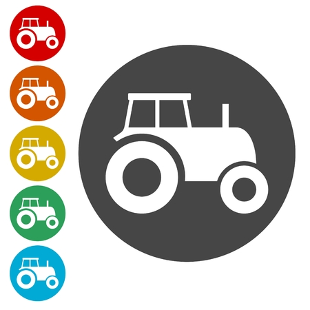 plow: Tractor icon Illustration