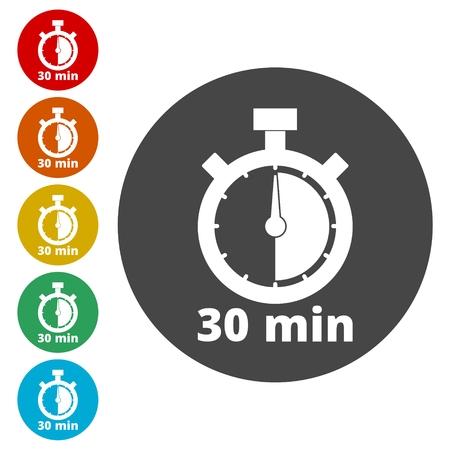 sec: 30 minutes stopwatch symbol, Timer icons set