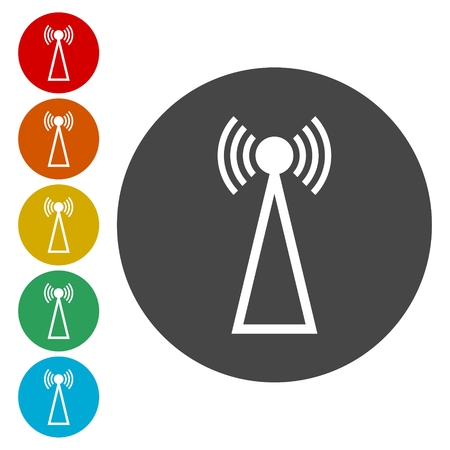 Transmitter simple icons set