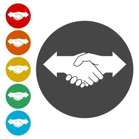 dissension: Partnership (Hand shake arrows) icons set
