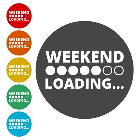 Week-end di carico icone set Vettoriali