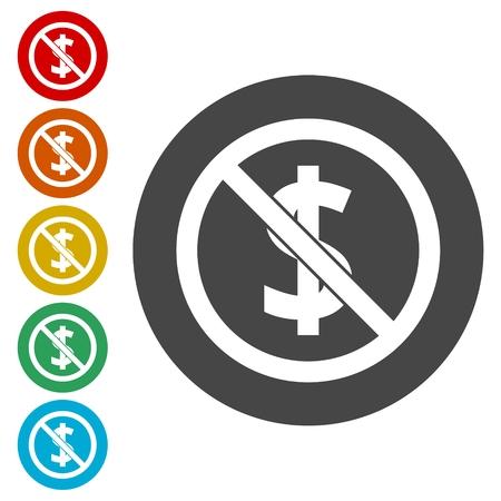 sabotage: No money sign icons set, vector illustration.