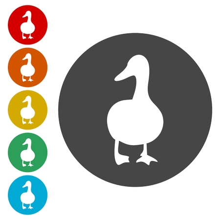 The silhouette of a goose icons set, vector illustration. Çizim