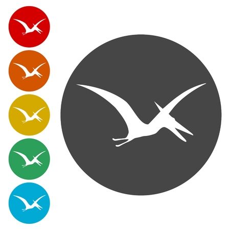 Pterodactyl silhouette icons set