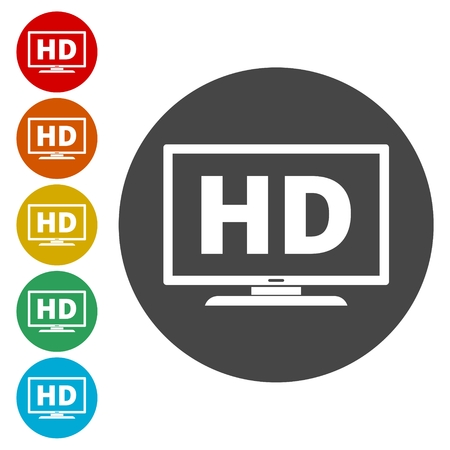High definition television symbol, HDTV icons set