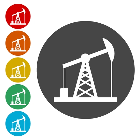 Oil Rig Icon, Oil pump jack icons set Çizim