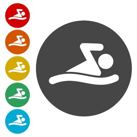 break the rules: Swim icon Illustration