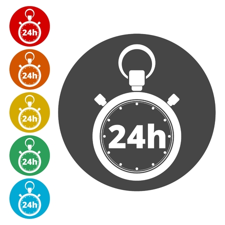 Vector illustration of 24h stopwatch icon