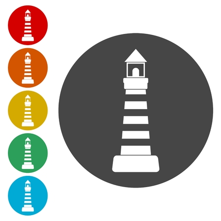 leading light: Lighthouse icons set