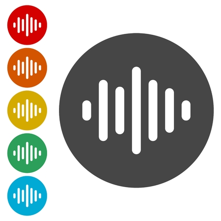 Audio wave icons set Stock Illustratie