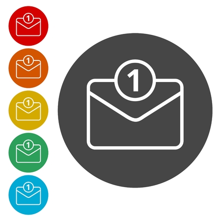 select all: Unread mail icons set Illustration