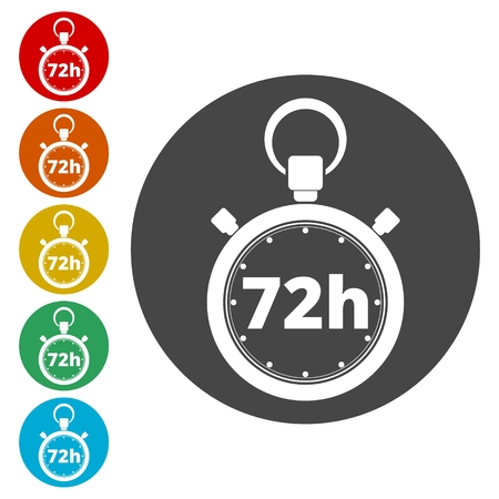 Vector illustration of 72h stopwatch icon Illusztráció