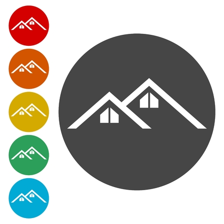 garage on house: Home roof icon