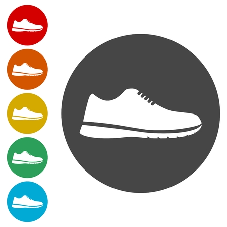 fast foot: Sport shoe icons set vector illustration