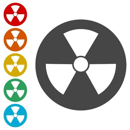 fission: Radiation symbol set vector illustration
