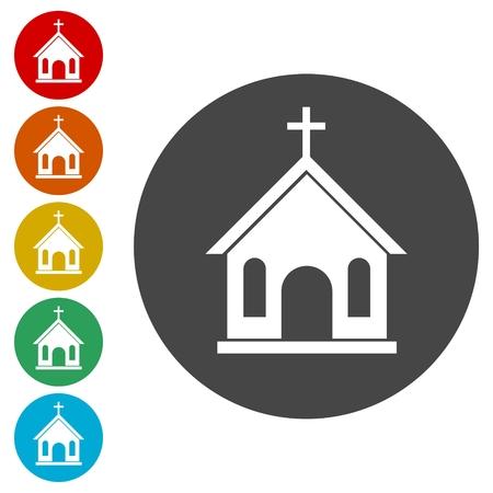 Church icons set vector illustration Çizim