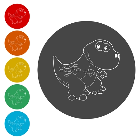 Cute Cartoon Dinosaur icons set